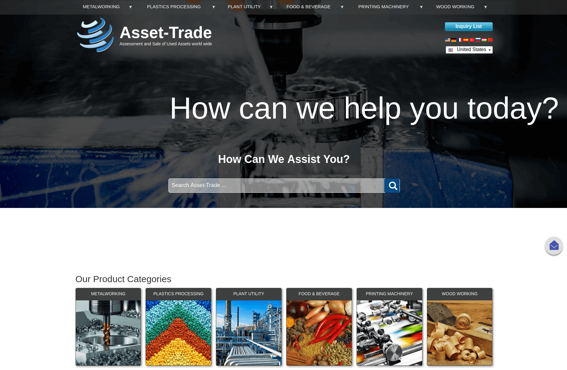 Asset-trade front page